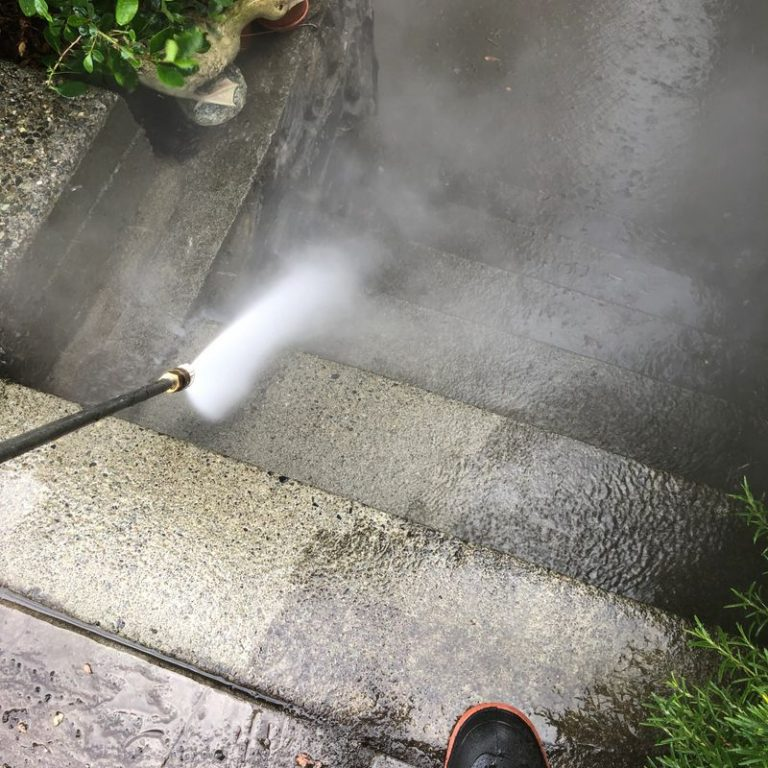pressure washing stairs